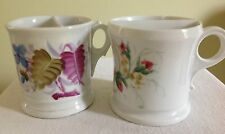 2 Ladies Shaving Mugs hand painted porcelain Floral + Roses  antique