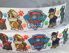 "2 Metres PAW PATROL DOG COLLAR GROSGRAIN RIBBON 25MM 1"" HAIR BOW CAKE CARD"
