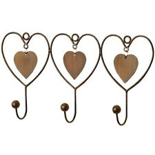 LOVE HEART WALL HANGER 3 HOOKS COLLECTABLE HOME METAL ACCESSORY QUIRKY CUTE FUN