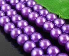140pcs Purple Round Czech Glass Pearl Spacers Beads 6mm