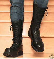 "Mens Underground Ranger Style ""Skinhead""  Black Leather Boots"
