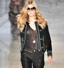 GUCCI $3776 black suede leather metal star studded teal trim biker jacket 46 NEW