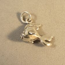 .925 Sterling Silver 3-D FANTAIL GOLDFISH CHARM NEW Koi Gold Betta Fish 925 NT76
