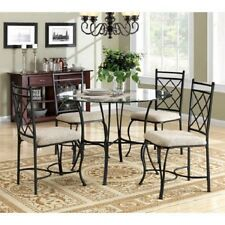5 Piece Dining Set Chairs Glass Top Table Black Metal