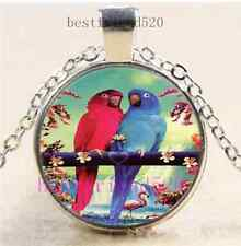 Pretty Parrot Photo Cabochon Glass Dome Silver Chain Pendant Necklace