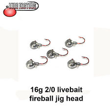 2/0 Fireball live bait  jig head 16g perch pike bass live baiting jig head
