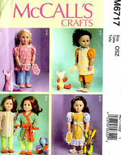 "18"" Doll Clothes Stuffed Animals Sewing Pattern McCall's 6717"