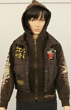 ED HARDY Brand Size Small Womens Dark Brown Don - Ed Hardy Designs Coat