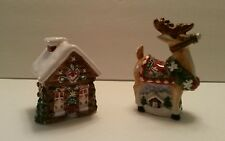 Holiday Reindeer & Log cabin cottage salt and pepper shakers by Living Quarters