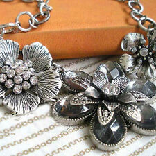 Vintage Retro Womens Rhinestone Crystal Petal Silver Flower Choker Necklace Gift