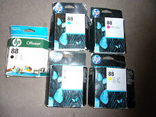 5 GENUINE HP 88 HP88 PRINTER INK CARTRIDGES EXPIRED 1 cyan 1 magenta 2 black 1 y