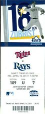 2011 Rays vs Twins Ticket: Johnny Damon 2 RBI/ Kelly Shoppach HR