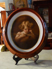 Oval Shadow Box Frame with Tinted Print~~Signed