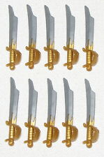 LEGO LOT OF 10 NEW MINIFIGURE SWORDS WITH PEARL GOLD HANDLE