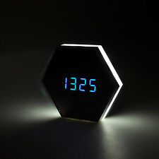 Mirror Alarm Clock Bathroom Bedroom Glass Night Light Wall Mount LED Lamp USB