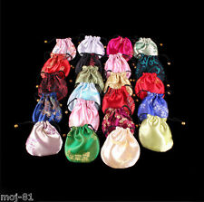 Pretty 10pcs Mix Colors Chinese Handmade Silk Bag/Purse Jewelry Bags Pouches