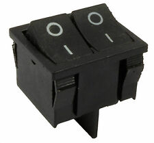 Black On/Off Dual Snap-in Rectangle Rocker Switch Car Dashboard DPST 12V