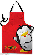 PERSONALISED CARTOON PENGUIN CHILDRENS APRON BAKING PAINTING WATER ARTS & CRAFTS