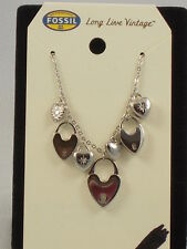Fossil Brand Stainless Steel Heart Lock Charm Necklace JF00297 $58