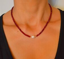 NATURAL Faceted Red RUBY/South Sea PEARL 14k Yellow Gold NECKLACE Handcrafted