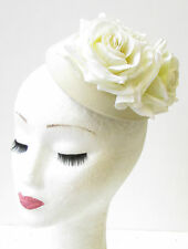 Ivory Cream Rose Flower Pillbox Hat Fascinator 1950s Rockabilly Vtg Hair 1203