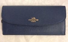 COACH F54008 SOFT WALLET IN CROSSGRAIN LEATHER IMITATION GOLD/MIDNIGHT