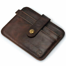 Mens Leather Money Clip Slim Wallet ID Credit Card Holder Case Purse Key Ring