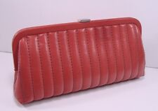 Authentic Chanel Red Lambskin Leather Vertical Quilt Mademoiselle Clutch Bag