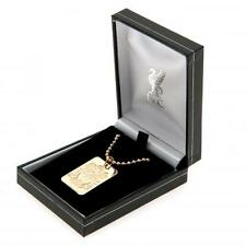 Liverpool Fc Gold Plated Dog Tag & Chain In Gift Box Jewellery Football Team New