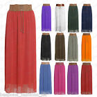 Ladies Women's Chiffon Lined Belted Gypsy Full Length Maxi Skirt One Size 8-14
