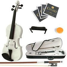 Mendini Size 4/4 Solidwood Violin Metallic White+ShoulderRest+ExtraStrings+Case