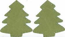 FERN GREEN  - XMAS TREE - SHAPED - 100% LEATHER - ELBOW PATCHES