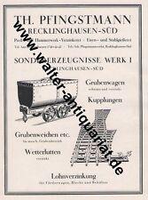 Pfingstmann Recklinghausen Bergbau Loren 2 Seiten Werbeanzeige anno 1925 Reklame