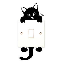Cat Wall Stickers Light Switch Decor Decals Art Mural Baby Nursery Room Black