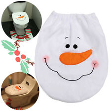 Christmas Decorations Happy Santa Toilet Seat Cover and Rug Bathroom Set Snowman