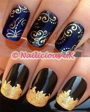 NAIL ART SET # 110. DRAGONFLY SWIRLS WATER TRANSFERS/DECALS/STICKERS & GOLD LEAF