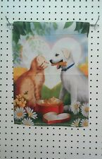 "12.5"" X 18"" Dog And Cat Sharing A Box Of Bones Garden Flag"