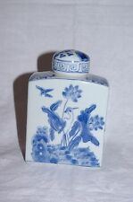 Vintage Chinese Ceramic Tea Canister with Handpainted Crane Decoration