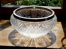 Vintage Antique Cut Glass fruit or flower Bowl Silver Plated Rim