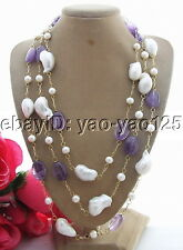 Q13090205 Stunning! Pearl&Bead-Nucleated Pearl&Amethyst Necklace