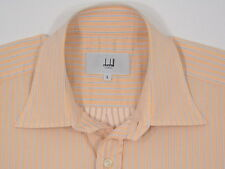 Mens Alfred Dunhill L/S Cotton Peach w  Gray Stripes Large PORTUGAL NU COND