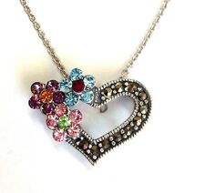 New Sterling Silver Multi Color Flower Love Heart Marcasit Charm Pendent Chain