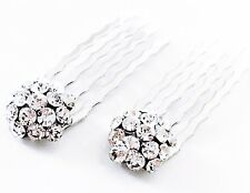 USA Mini Hair Comb Small Clear Swarovski ELMT Crystal Bridal Wedding Silver Clip