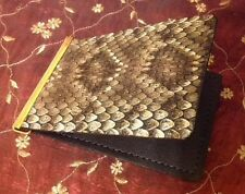 Money Clip Real Rattlesnake Skin Unique Wallet- USA Made ID Credit Card Holder