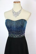 New Authentic Tony Bowls 115544 Beaded Black/Blue Evening Cruise Women Gown 6
