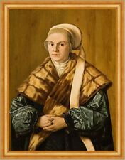 Portrait of a woman Barthel BEHAM Cappello Cappotto pelliccia moda anelli gioielli B a3 00764