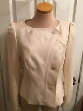 ESCADA Women's Vanilla Creme White Wool Blazer Jacket Size 38