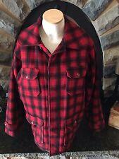 VTG Woolrich Mackinaw Wool Buffalo Plaid Lined Red Black Hunting Jacket 42