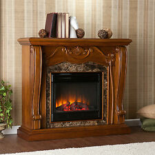 JFP46569 WALNUT WITH FAUXED MARBLE ACCENT ELECTRIC FIREPLACE W/ REMOTE CONTROL