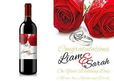 PERSONALISED WEDDING ROSES WINE BOTTLE LABEL